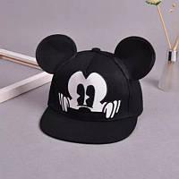 Детская кепка снепбек  с ушками Микки Маус с прямым козырьком Черная, Унисекс