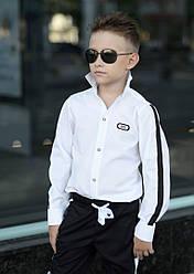 """Стильная рубашка белая на мальчика с эмблемой """" fashion"""" длинный рукав"""