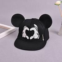Дитяча кепка снепбек з вушками Серце з прямим козирком Чорна, Унісекс