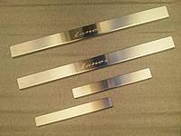 Защитные хром накладки на пороги Daewoo lanos (дэу ланос) (седан, хэтчбек) 1997г+
