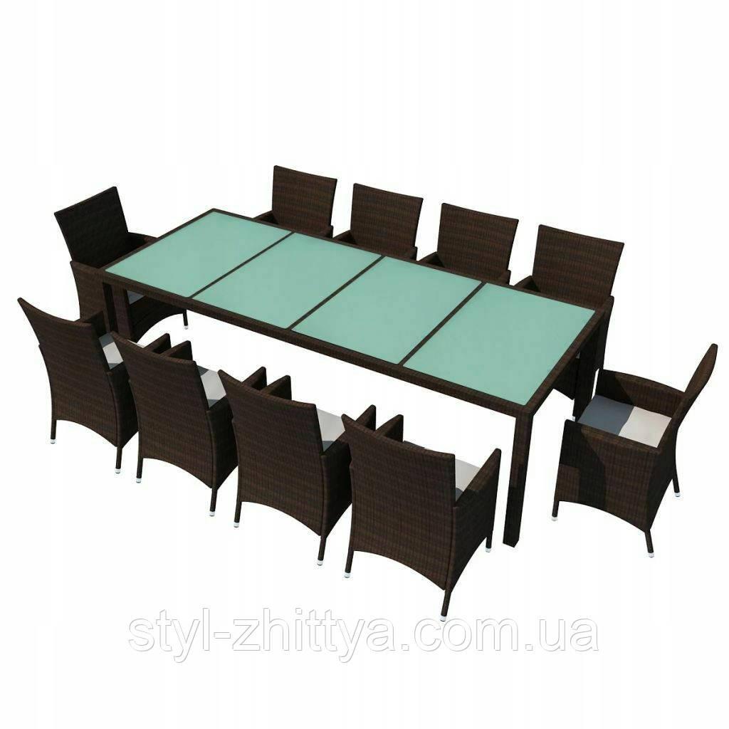 Набір садових меблів з штучного ротангу: 10 крісел + стіл.