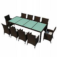 Набір садових меблів з штучного ротангу: 10 крісел + стіл., фото 1