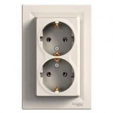 Розетка двойная без заземления Asfora (кремовая) Schneider Electric
