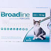 Бродлайн Спот-Он для котов весом 2,5-7,5 кг от внутренних и внешних паразитов 1 пипетка