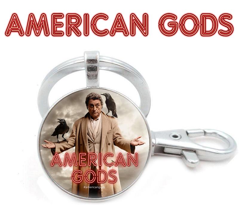 Брелок Американские боги / American Godsчерный с изображением мистера Среда