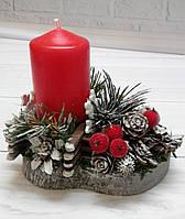 Подсвечник новогодний с хвоей и шишками Рождественский декор ручной работы 2021