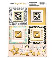Рамки - чипборд Simple Flowers для скрапбукинга (с золотой фольгой), 30шт