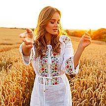 Біла сукня вишиванка з квітами Ятрань, фото 3