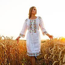 Белое платье вышиванка с цветами Ятрань, фото 2