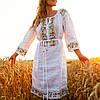 Белое платье вышиванка с цветами Ятрань, фото 3