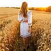 Белое платье вышиванка с цветами Ятрань, фото 4