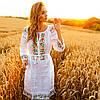 Белое платье вышиванка с цветами Ятрань, фото 5