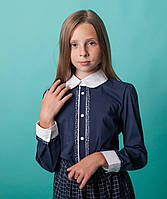 Блузка Свит блуз  мод. 6010 синяя с окантовкой в горошек р.140