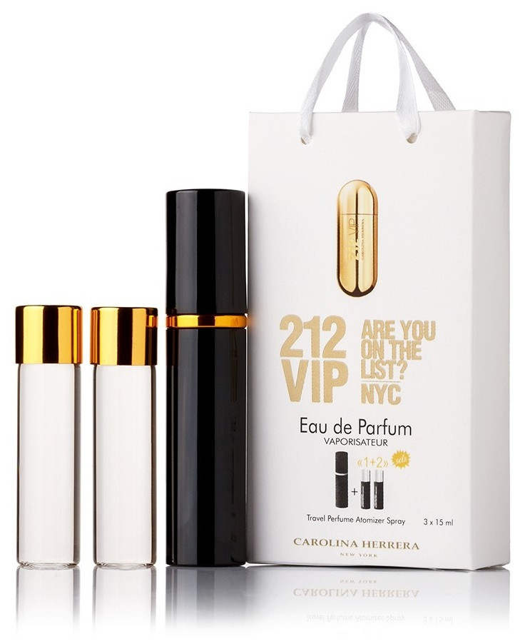 Туалетная вода женская Carolina Herrera 212 VIP edt 3X15 ml, Подарочная упаковка!