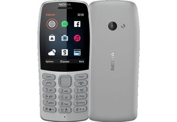 Мобильный кнопочный телефон на 2 сим карты с браузером Opera Mini и приложением Facebook Nokia 210 серый