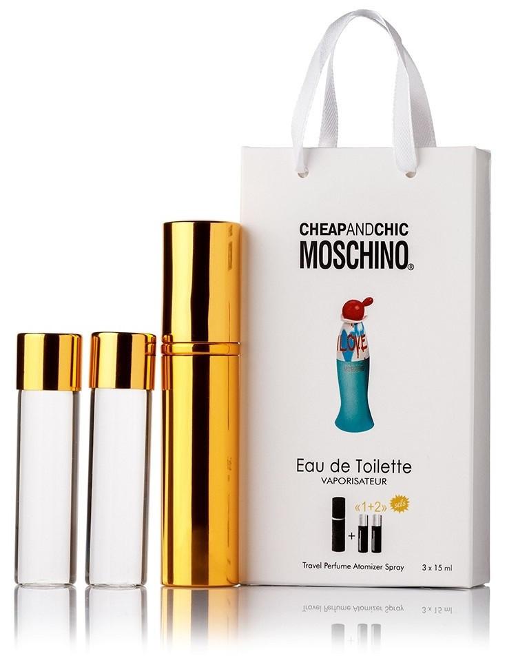 Подарочный набор Moschino Cheap and Chic I Love Love edt 3X15 ml, женская туалетная вода!