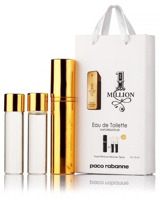 Подарочный набор Paco Rabanne 1 Million edt 3X15 ml, мужская туалетная вода!
