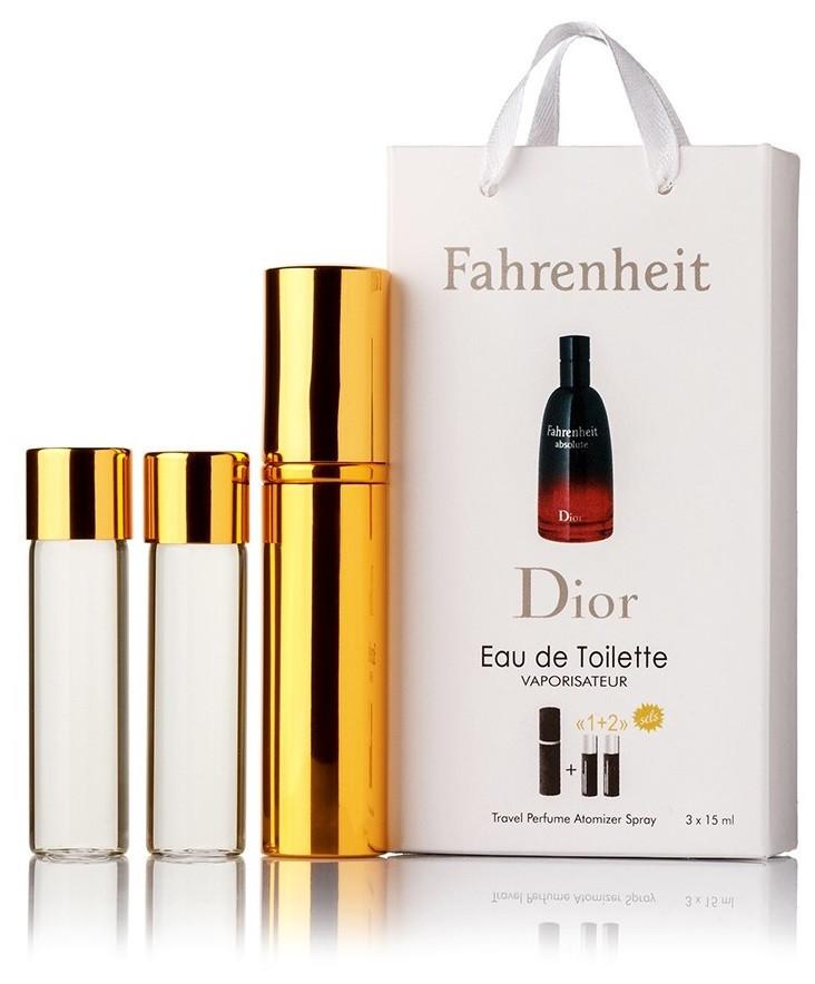 Подарочный набор Christian Dior Fahrenheit edt 3X15 ml, мужская туалетная вода!