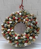 Новогодний Рождественский венок на дверь из винных пробок . Ручная работа