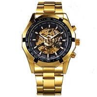 Мужские механические наручные часы Winner TM340 Steel Skelet Gold (M_G_080419_40-3)