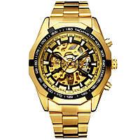 Мужские механические наручные часы Winner Steel Skelet Gold (M_G_080419_40-4)