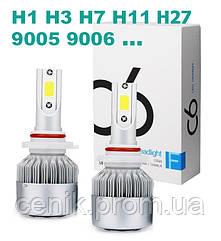 Набор автомобильных светодиодных LED ламп TOP LED PRO С6 H1, холодный свет