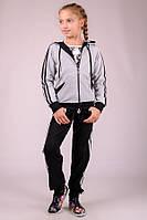 Детский спортивный костюм для девочки Комби-лампас (светло-серый)