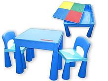 Детский стол, столик лего доска lego, два стула в комплекте Tega, фото 3
