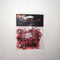 Резиночки для плетения Rainbow Loom 200шт. (половинки черно-розовые)