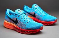 Кроссовки мужские Nike Air Max Flyknit 2014, кроссовки найк флайнит 2014 голубые, обувь оригинальная