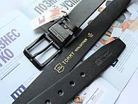 Мужской кожаный ремень Tommy Hilfiger с черной пряжкой