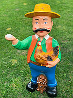 """Садовая фигура """"Дед с курицей"""" H-95см, фото 1"""
