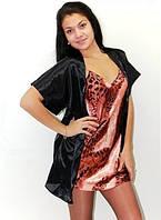 Ночная рубашка и халатик в комплекте - шелк. Размеры 44 - 52. Красивые комплекты: пеньюар и халат атлас.