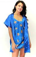 """Ночная рубашка и халатик в комплекте - шелк """"Звездное небо"""". Размеры 44 - 50. Опт, розница, Украина."""