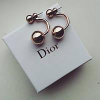 Серьги Dior Dubble золото , сережки женские