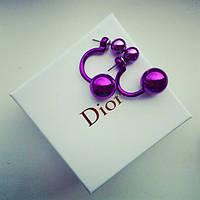 Серьги Dior Dubble сиреневые , сережки женские