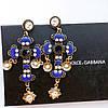 Серьги женские D&G крест синие, сережки женские