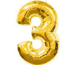 """Шар фольгированный цифра  """"3"""" 35 см"""