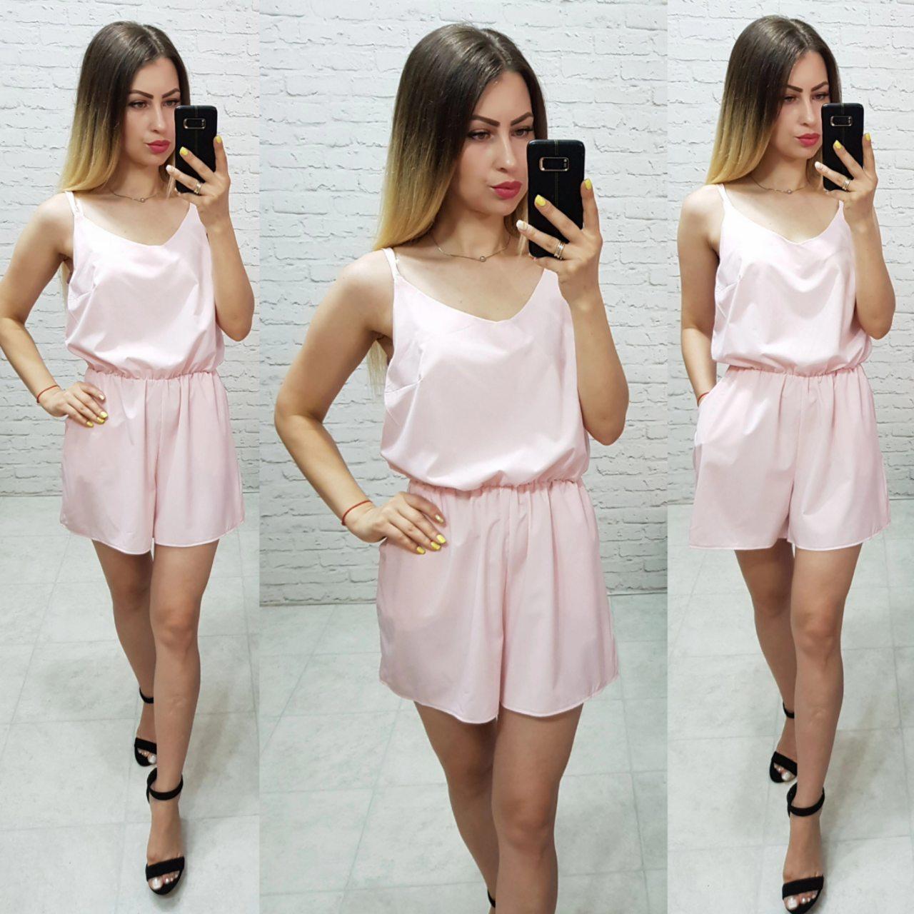 Комбинезон пижама цельный арт. 102/1 пудра / пудровый / светло розовый