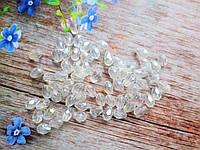 Бусины хрустальные (капля), 7х5 мм, 30-35 шт, цвет белый (прозрачный с АВ напылением)