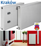 Стальной радиатор отопления 500 на 1100 тип 22 Krakow Poland боковое подключение