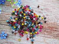 Бусины хрустальные 4х3 мм, 135-145 шт, цвет микс