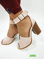 Женские замшевые босоножки на каблуке, ОВ 1091, фото 1