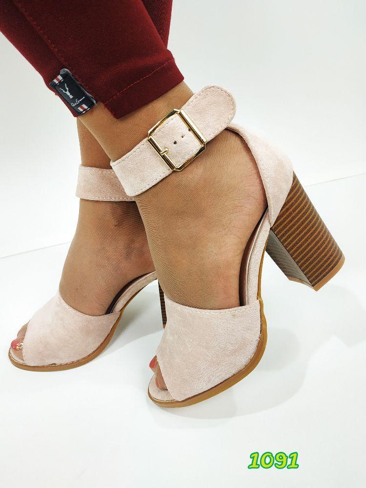 Женские замшевые босоножки на каблуке, ОВ 1091