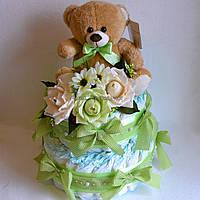 Торт из памперсов для мальчика (зеленый)