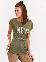 Женская футболка Lc Waikiki / Лс Вайкики цвета хаки с надписью New York