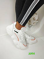 Женские стильные белые  кроссовки, ОВ 1076, фото 1