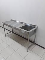 Стол мойка для ресторанной кухни из нержавеющей стали 1500х600х850, фото 1