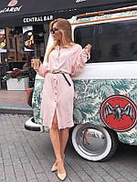Платье рубашка женское стильное голубое розовое