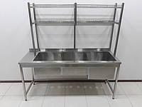 Мойка 3-х секционная из нержавеющей стали 1800х600х1800 с надстройкой для сушки посуды, фото 1